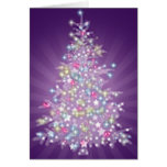 Árbol de navidad púrpura tarjeta