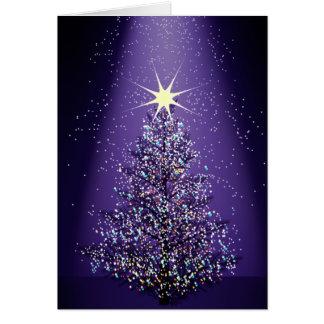 Árbol de navidad púrpura tarjeta de felicitación