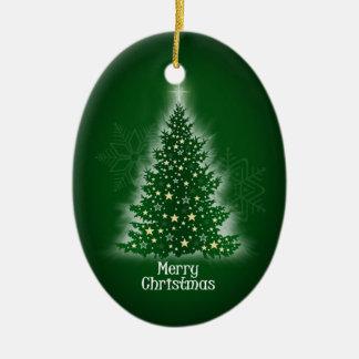 Árbol de navidad que brilla intensamente con las ornamento de navidad