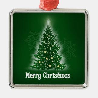 Árbol de navidad que brilla intensamente con las adorno para reyes