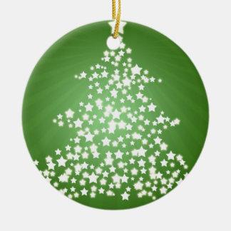 Árbol de navidad que brilla intensamente adorno redondo de cerámica