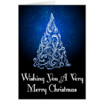 Árbol de navidad que brilla intensamente felicitacion