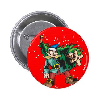 Árbol de navidad que lleva del duende pin redondo de 2 pulgadas