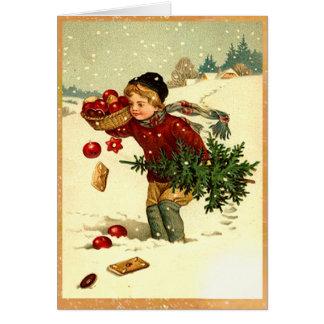 Árbol de navidad que lleva del vintage del tarjeta de felicitación