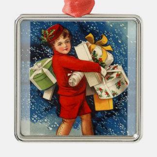 Árbol de navidad que lleva Orna del muchacho del Adorno Navideño Cuadrado De Metal