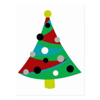 Árbol de navidad retro colorido postal
