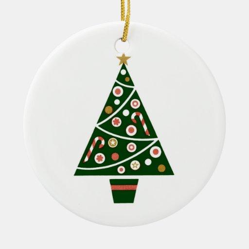 Árbol de navidad retro del vintage adorno navideño redondo de cerámica