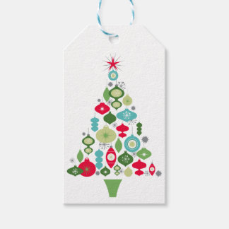 árbol de navidad retro del vintage moderno etiquetas para regalos