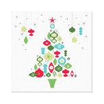 árbol de navidad retro del vintage moderno impresión en lienzo estirada