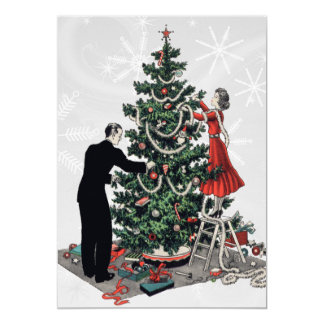 """Árbol de navidad retro invitación 5"""" x 7"""""""