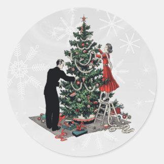 Árbol de navidad retro etiqueta redonda