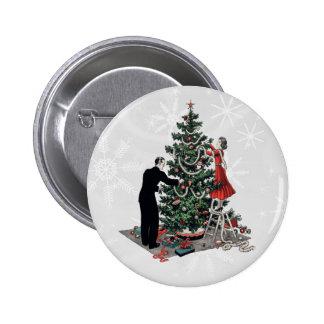 Árbol de navidad retro pin redondo 5 cm