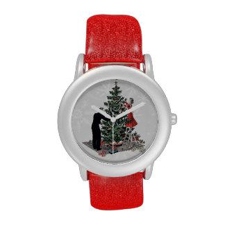 Árbol de navidad retro reloj de mano