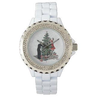 Árbol de navidad retro relojes de mano