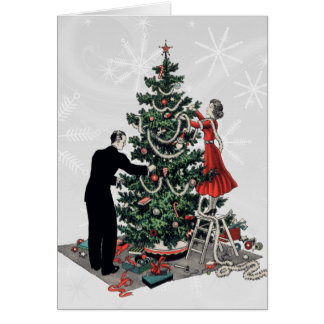 Árbol de navidad retro tarjeta de felicitación