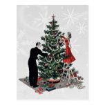 Árbol de navidad retro tarjeta postal