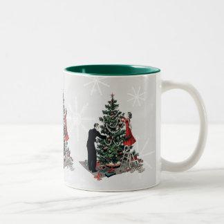 Árbol de navidad retro taza dos tonos
