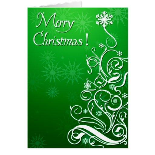 Árbol de navidad rizado de Swirly Tarjeta De Felicitación