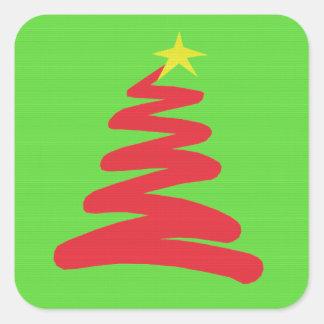 Árbol de navidad rojo abstracto en verde pegatinas cuadradases personalizadas