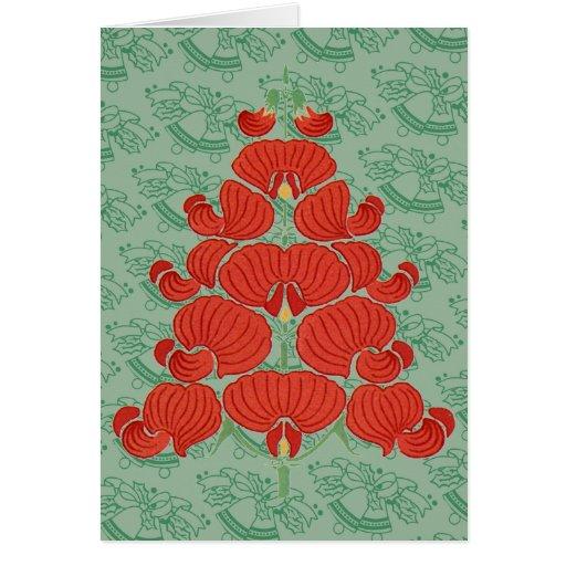 Árbol de navidad rojo de la flor de Deco Tarjetas