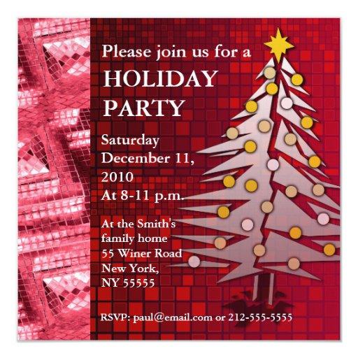 Árbol de navidad rojo de rubíes de la invitación