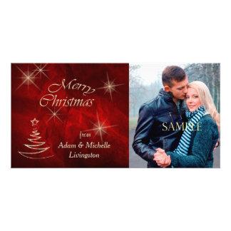 Árbol de navidad rojo elegante tarjetas personales con fotos