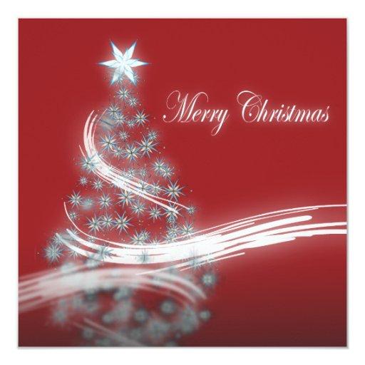 """árbol de navidad rojo imperecedero festivo de invitación 5.25"""" x 5.25"""""""