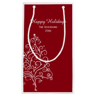 Árbol de navidad rojo y blanco buenas fiestas bolsa de regalo pequeña