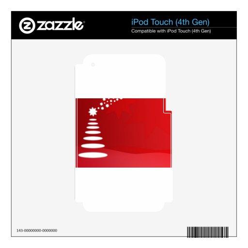 árbol de navidad rojo y blanco skins para iPod touch 4G