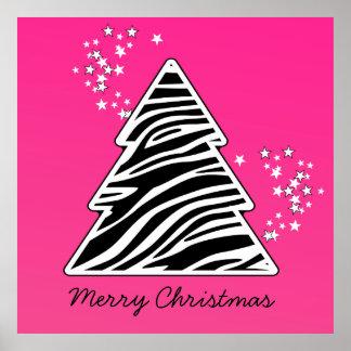 Árbol de navidad rosado de la cebra póster