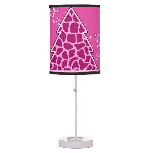 Árbol de navidad rosado de la jirafa lámpara de escritorio