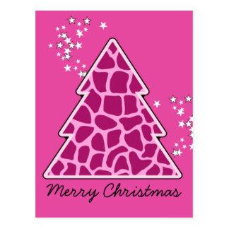 Árbol de navidad rosado de la jirafa postal