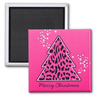 Árbol de navidad rosado del guepardo del leopardo imán para frigorífico