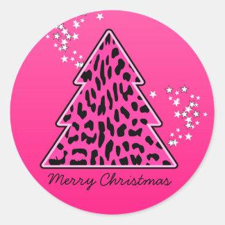Árbol de navidad rosado del guepardo del leopardo pegatina redonda
