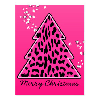 Árbol de navidad rosado del guepardo del leopardo postal