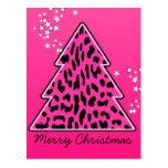 Árbol de navidad rosado del guepardo del leopardo postales