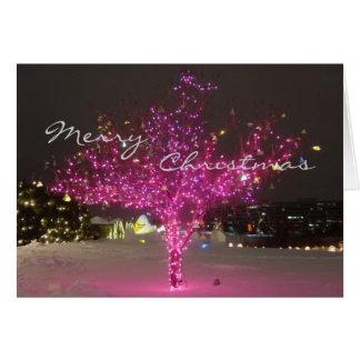 Árbol de navidad rosado tarjeta de felicitación