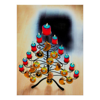Árbol de navidad Schmiedeeiserner con candelas roj Posters