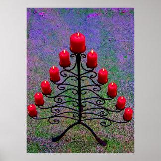 Árbol de navidad Schmiedeeiserner con candelas roj Impresiones