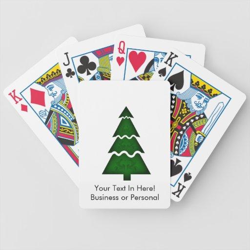 Árbol de navidad seccional con verde del ornamento baraja de cartas