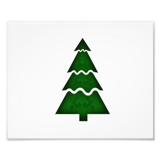 Árbol de navidad seccional con verde del ornamento impresiones fotográficas
