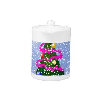 Árbol de navidad Snowglobe cubierto en malla