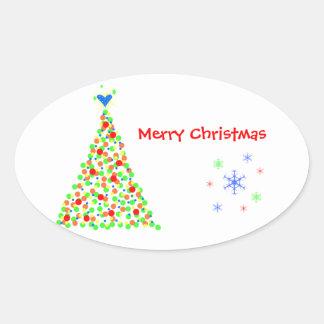 Árbol de Navidad - Sticker Pegatina Ovalada