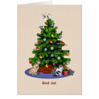 Árbol de navidad sueco, feliz, pájaros, gato, tarjeta de felicitación