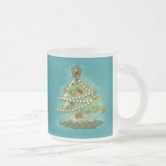 Árbol de navidad taza de café esmerilada