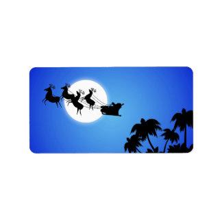 Árbol de navidad tropical de Papá Noel Etiqueta De Dirección