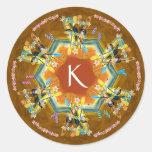 Árbol de navidad tropical del kajak etiquetas redondas