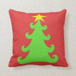 árbol de navidad verde 2-Sided en el rojo - rojo Cojines