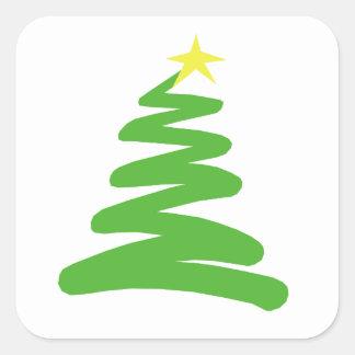 Árbol de navidad verde abstracto en blanco calcomanía cuadradas personalizada