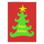 Árbol de navidad verde abstracto en rojo felicitacion
